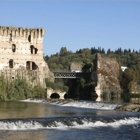 The ruins of the Medieval bridge in Borghetto sul Mincio