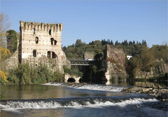 The ruins of the Medieval bridge in Borghetto sul Mincio